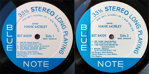 hank mobley - dippin - labels